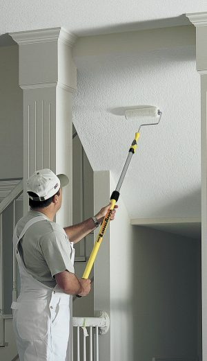Painting with an Alumiglass telescopic extension pole.