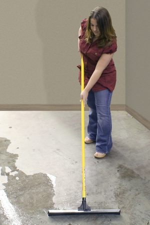 Cleaning floors with the fiberglass utility handle.