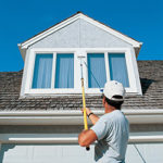 Painting a 2-story home with Alumiglass 3-section extension pole