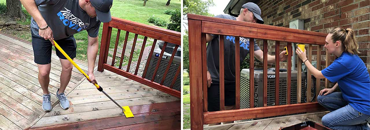 Staining a small deck with the Deck-O-Bag Kit