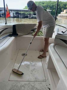 Scrubbing the deck with Telewash