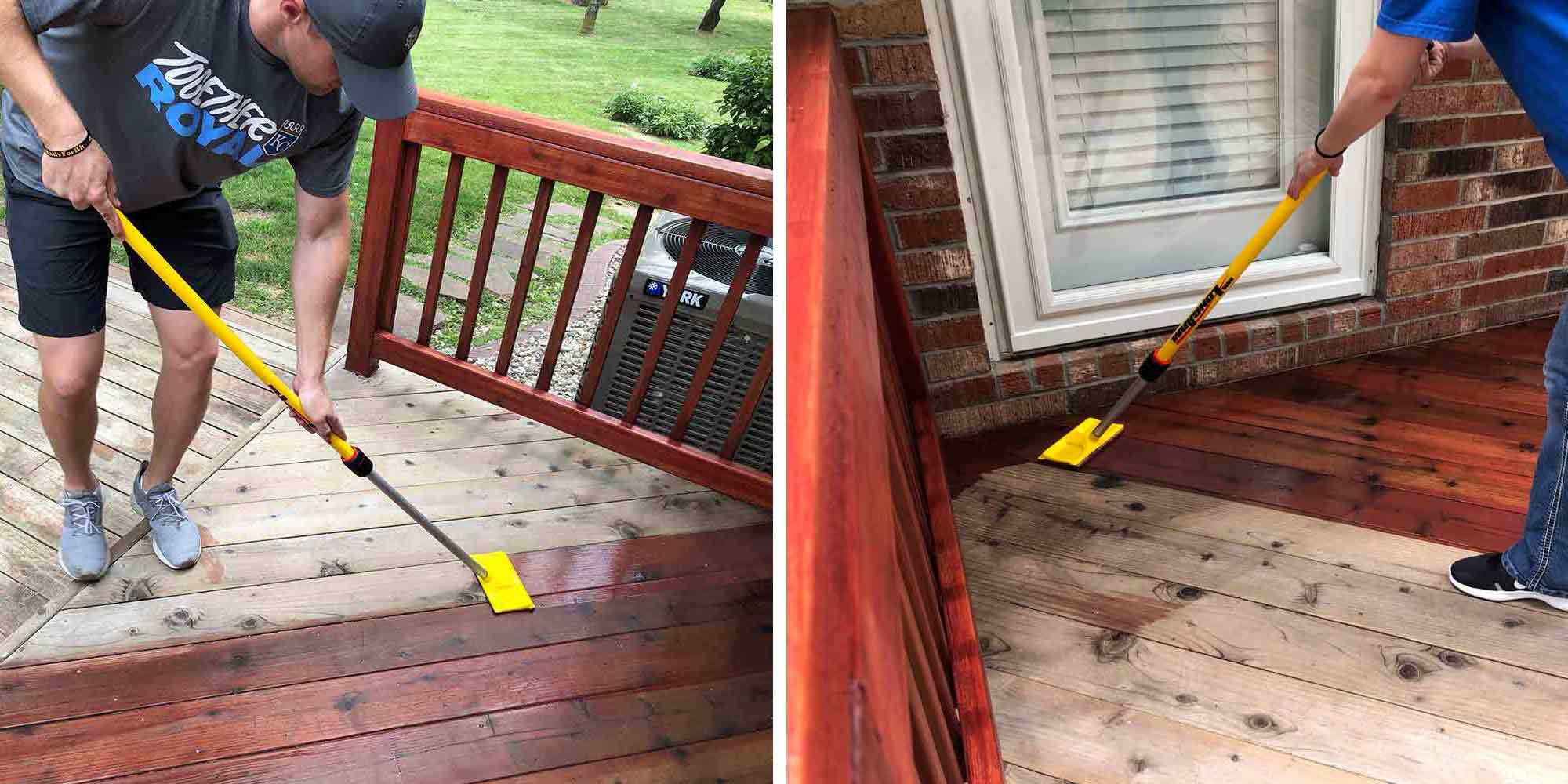 How to stain your deckboards with the 7 inch stain applicator.